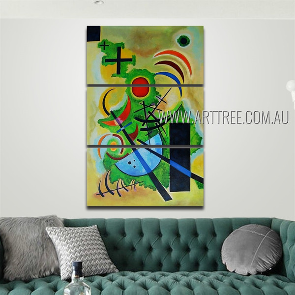 Solid Green Abstract Reproduction Artist Handmade 3 Piece Multi Panel Canvas Painting Wall Art Set For Room Flourish