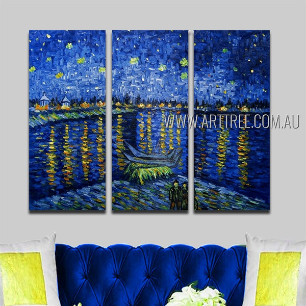 Starry Night Over The Rhone Landscape Reproduction Handmade Heavy Texture 3 Piece Split Panel Painting Wall Art Set For Room Equipment