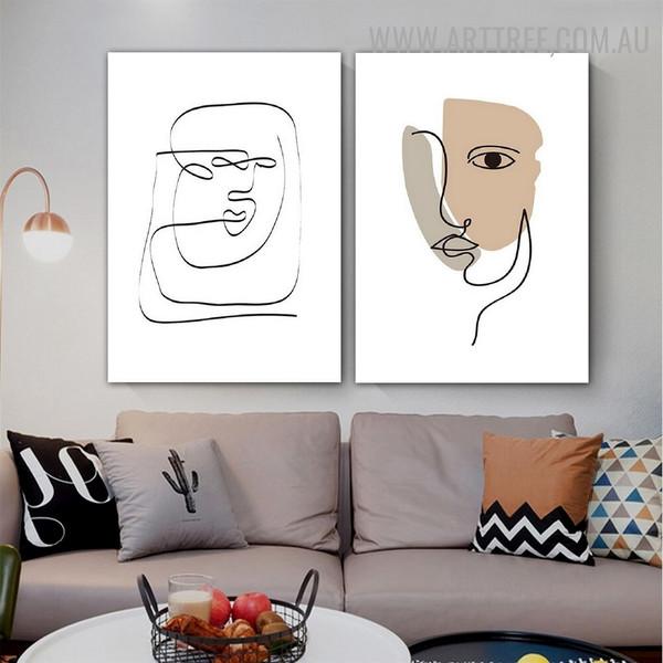 Human Face Mark Lines 2 Piece Abstract Scandinavian Artwork Geometrical Photo Canvas Print for Room Wall Assortment