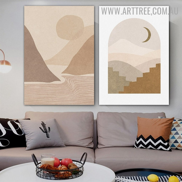 Phoebus Hills Stairs Scandinavian Naturescape Artwork Photo 2 Piece Abstract Canvas Print for Room Wall Drape