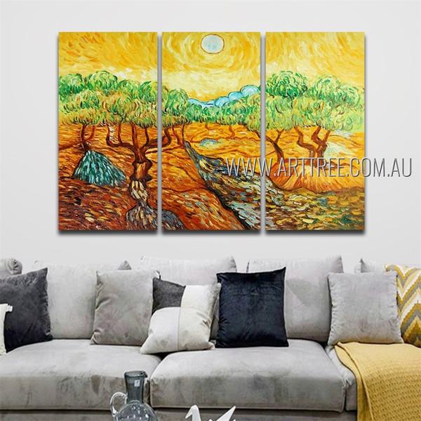 Woodland Landscape Modern Heavy Texture Artist Handmade 3 Piece Multi Panel Wall Art Paintings Set For Room Adornment