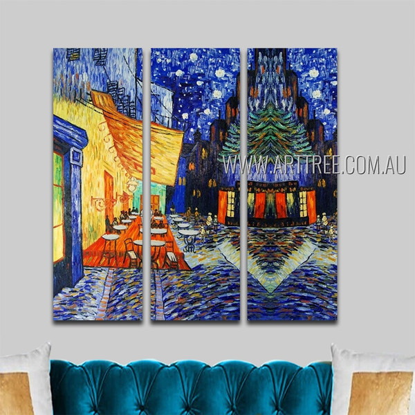 Cafe Terrace At Night Cityscape Reproduction Impressionist Heavy Texture Handmade 3 Piece Split Panel Painting Wall Art Set For Room Decor