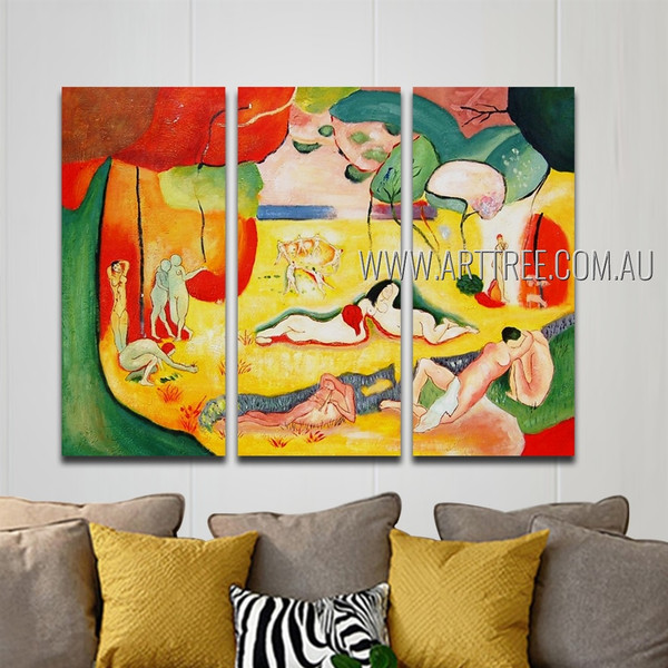 The Joy Of Life Nude Landscape Reproduction Heavy Texture Handmade 3 Piece Multi Panel Wall Art Paintings Set For Room Getup