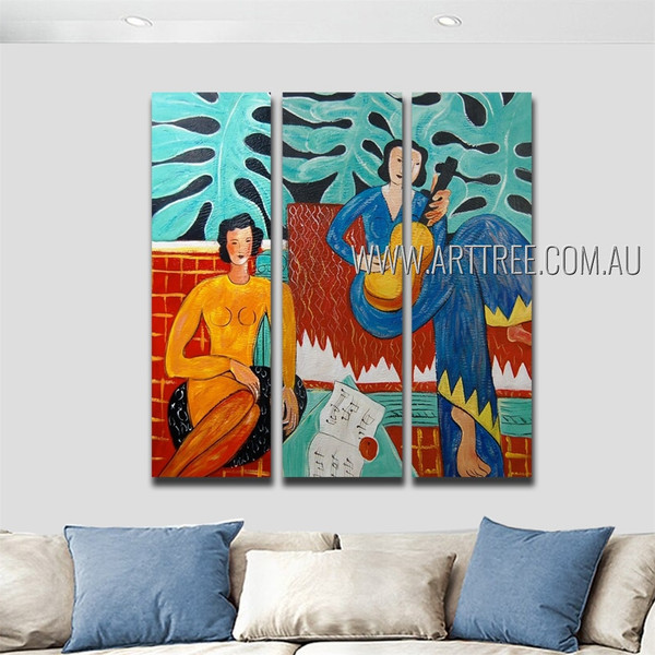 Girl Playing Guitar Figure Reproduction Heavy Texture Handmade 3 Piece Multi Panel Wall Art Paintings Set For Room Adornment
