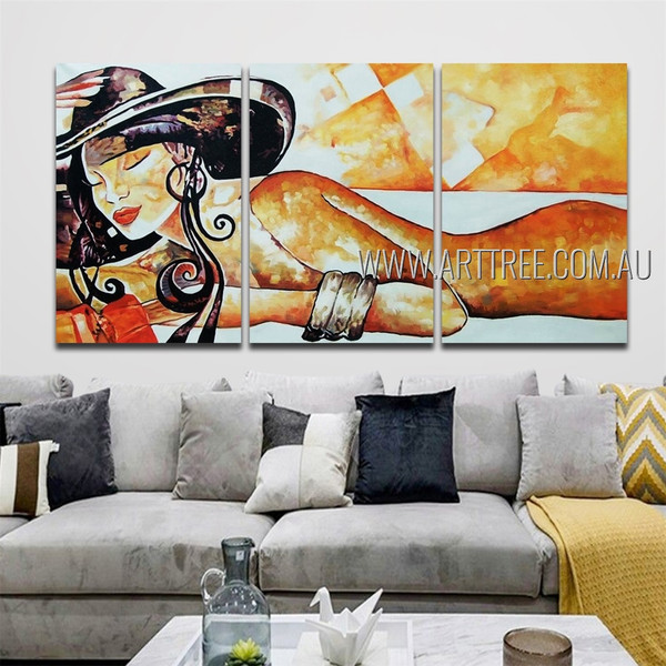 Sleeping Woman Nude Figure Reproduction Heavy Texture Handmade 3 Piece Multi Panel Oil Paintings Wall Art Set For Room Finery