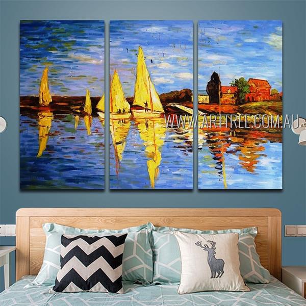 Yellow Sailboats Landscape Heavy Texture Handmade 3 Piece Split Canvas Art Set For Room Adornment