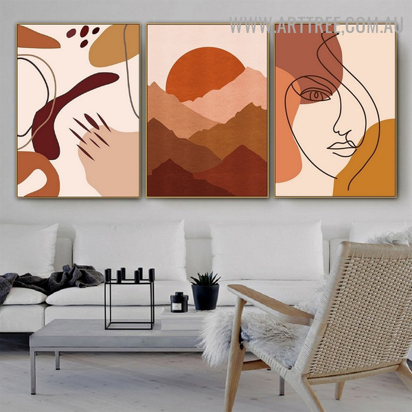 Smears Face Lines Abstract Scandinavian Pic 3 Piece Minimalist Art Canvas Print for Room Wall Adornment
