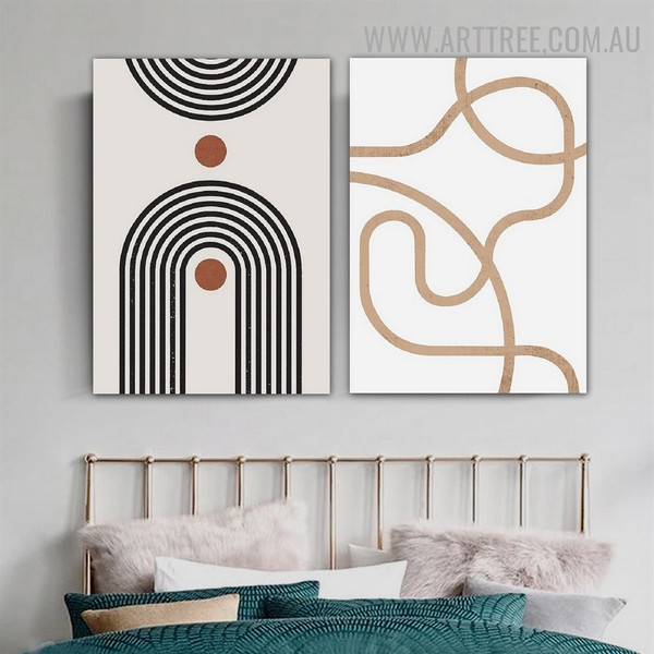 Tortuous Lineaments Circles 2 Panel Abstract Geometric Scandinavian Painting Photo Canvas Print for Room Wall Embellishment