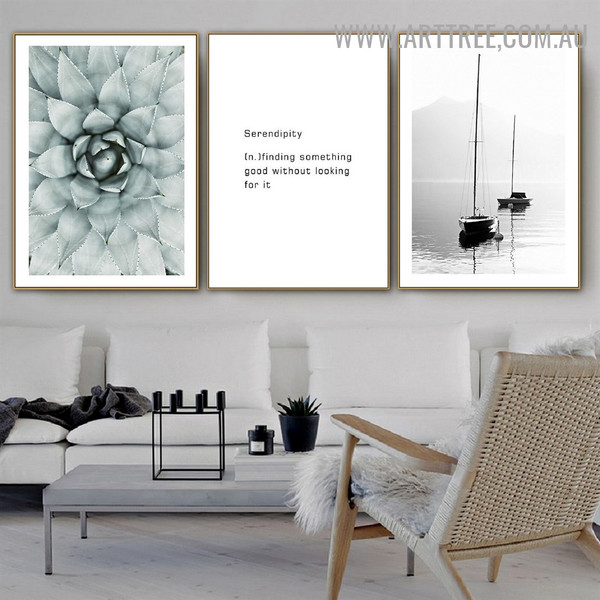 Something Good Ships Floral Painting Image 3 Panel Quotes Modern Canvas Print for Room Wall Embellishment
