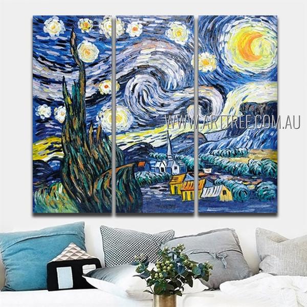Starry Night Landscape Post Impressionist Handmade Artist 3 Piece Split Canvas Art Set For Room Décor