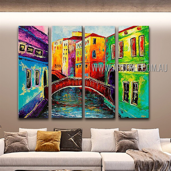 Colorific Buildings Abstract Modern Handmade Artist 4 Piece Multi Panel Wall Art Paintings Set For Room Garniture