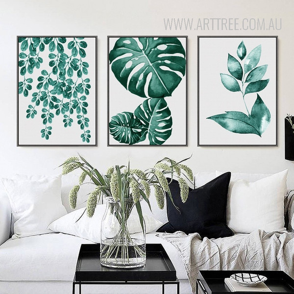 Refreshing Green Leaves 3 Piece Wall Decor