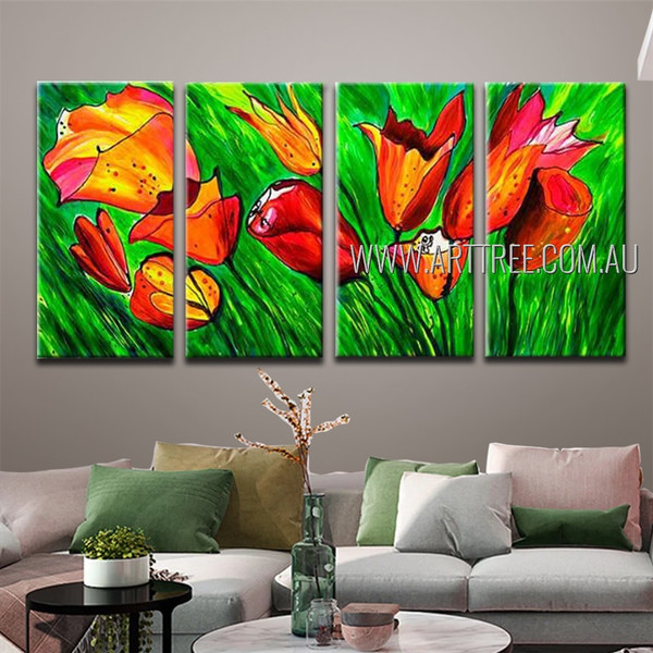 Beautiful Blooms Abstract Floral Modern Handmade Artist 4 Piece Split Oil Paintings Wall Art Set For Room Equipment