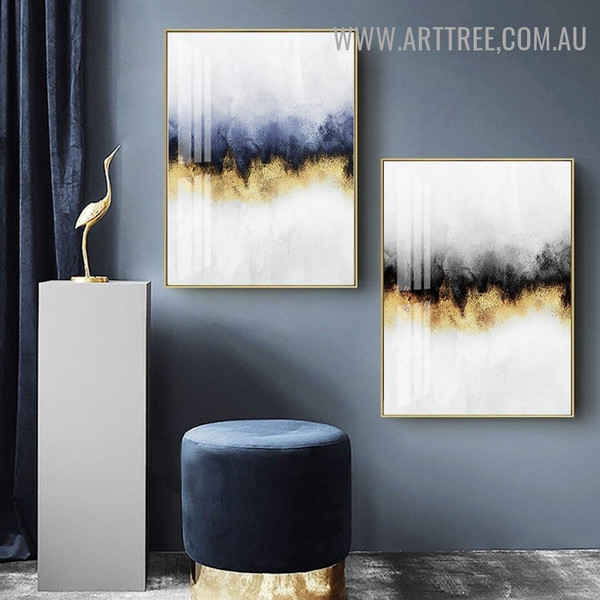 Motley Smears Abstract 2 Piece Minimalist Artwork Picture Vintage Canvas Print for Room Wall Decor