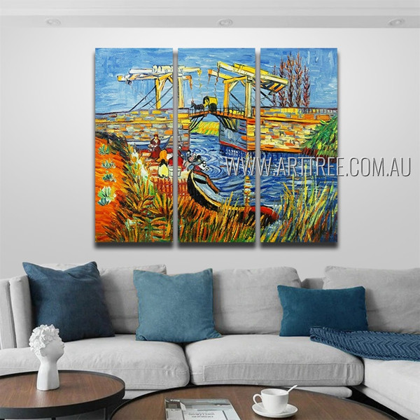 The Langlois Bridge At Arles With Women Washing Reproduction Post Impressionist Handmade 3 Piece Split Wall Painting For Room Garnish