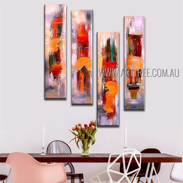 Chromatic Taints Abstract Modern Framed Handmade Artist 4 Piece Split Panel Painting Wall Art Set For Room Flourish