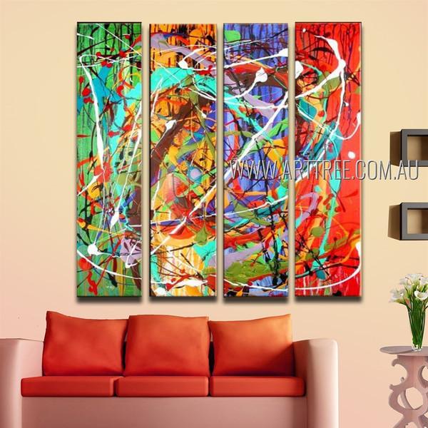 Multicolored Lines Splotches Abstract Modern Framed Handmade Artist 4 Piece Split Panel Painting Wall Art Set For Room Decor