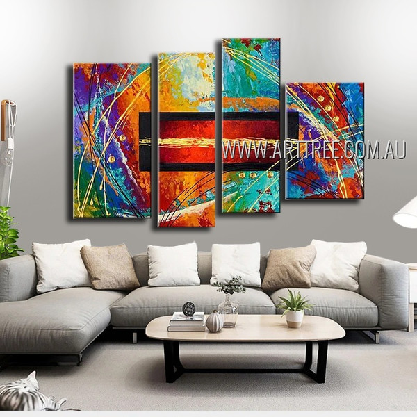 Particolored Strokes Specks Abstract Modern Handmade Artist 4 Piece Multi Panel Oil Paintings Wall Art Set For Room Getup