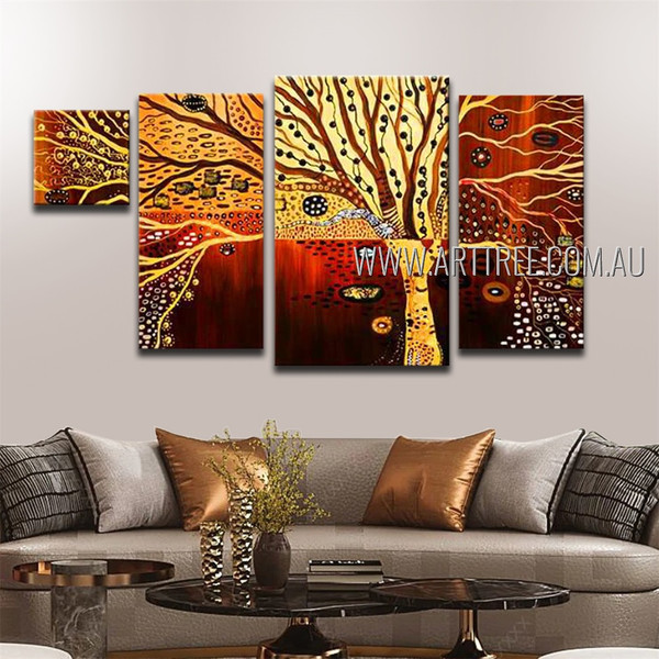Multicolor Tree Abstract Botanical Contemporary Handmade Artist 4 Piece Multi Panel Canvas Painting For Room Decor
