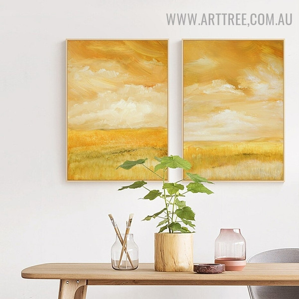 Colorific Sky Land Abstract Floral Pic Canvas 2 Panel Scandinavian Art Print for Room Wall Illumination