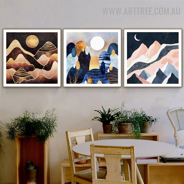 Pebbles Mountain Moon 3 Piece Abstract Naturescape Modern Painting Image Canvas Print for Room Wall Getup
