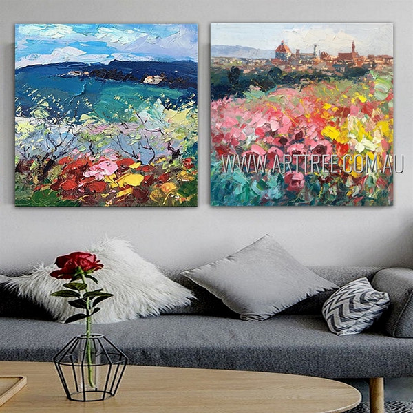 Chequered Flowers Abstract Modern Artist Handmade 2 Piece  Multi Panel Canvas Painting Wall Art Set For Room Garniture