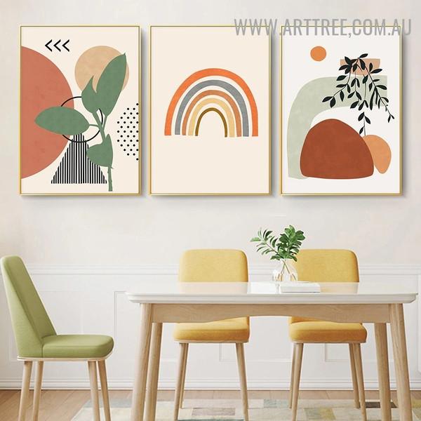 Streaks Triangle Circles Abstract 3 Panel Geometric Scandinavian Artwork Image Canvas Print for Room Wall Decor