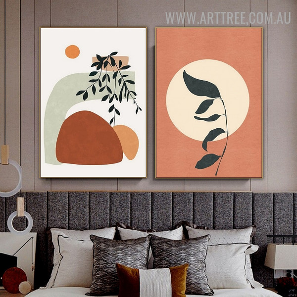 Sphere Leaflets Bold Line 2 Piece Geometric Abstract Wall Art Scandinavian Image Canvas Print for Room Outfit