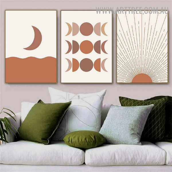 Daystar Rays Moon Phases Minimalist Scandinavian 3 Piece Naturescape Artwork Pic Canvas Print for Room Wall Equipment