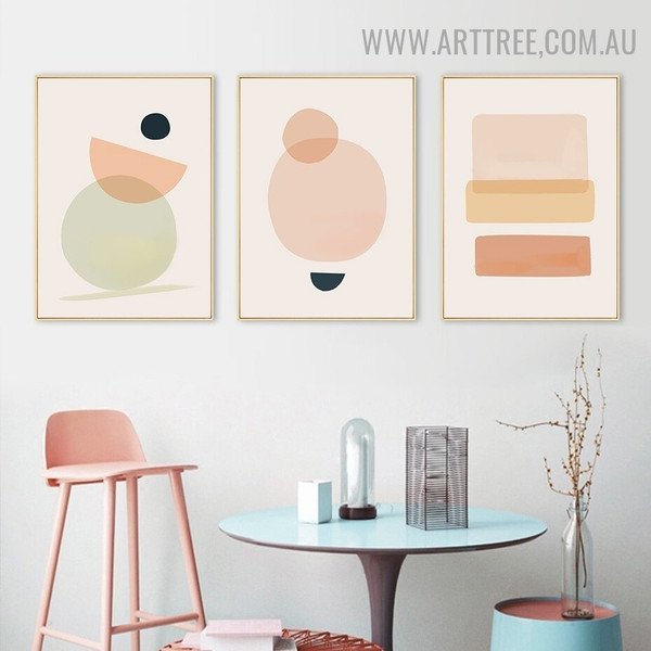 Colorific Verse Circles Abstract 3 Piece Scandinavian Geometric Wall Painting Picture Canvas Print for Room Garnish