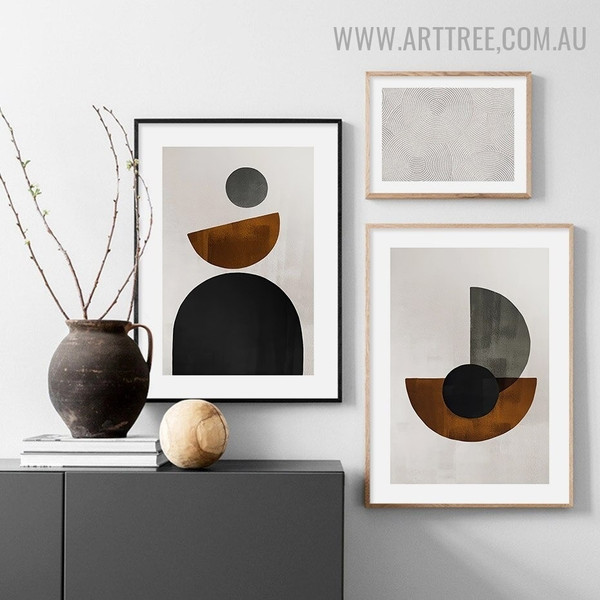 Motley Semi Circles Geometric Retro Image Canvas 3 Piece Minimalist Artwork Print for Room Wall Disposition