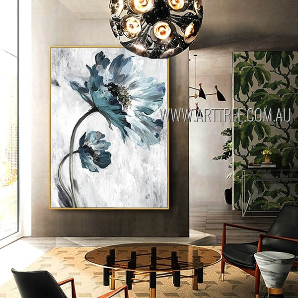 Blue Blooms Abstract Modern Artist Handmade Acrylic Flower Painting For Room Adornment