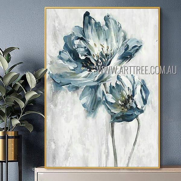 Two Flowers Abstract Artist Handmade Modern Painting For Room  Finery