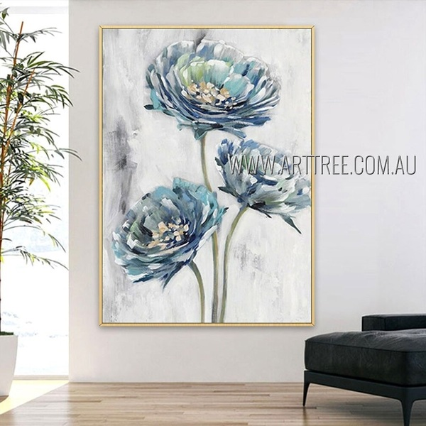 Three Florets Floral Modern Artist Handmade Heavy Texture Abstract Floral Wall Art For Room Ornament