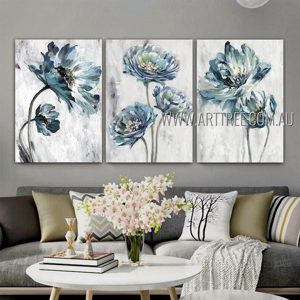Blue Petal Flowers Abstract Floral Modern Artist Handmade 3 Piece Multi Panel Canvas Painting Wall Art Set For Room Decor
