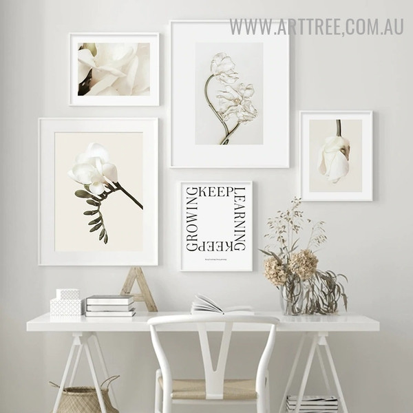 Keep Growing Bloom 5 Piece Quotes Minimalist Retro Painting Image Canvas Print for Room Wall Illumination
