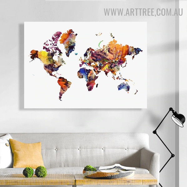 World Map Abstract Minimalist Watercolor Painting Image Canvas Print for Room Wall Disposition