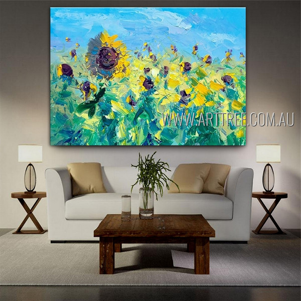 Flowery Garden Abstract Floral Heavy Texture Artist Handmade Modern Painting For Room Ornamentation