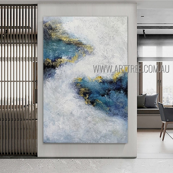 Multicolored Splotches Modern Heavy Texture Artist Handmade Abstract Artwork For Room Moulding