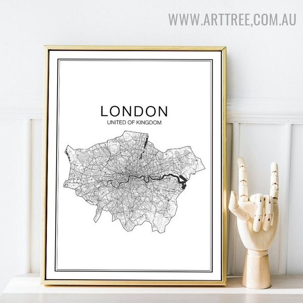 United Of Kingdom Abstract Map Artwork Modern Image Canvas Print for Room Wall Outfit