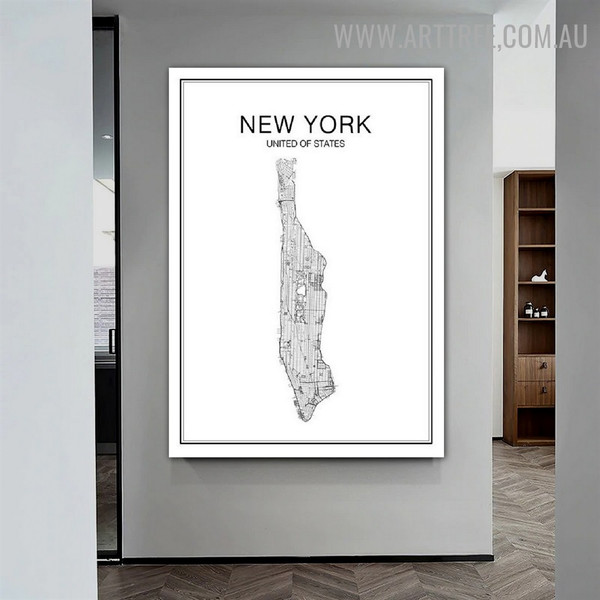 New York United Of State Modern Map Art Pic Abstract Canvas Print for Room Wall Assortment