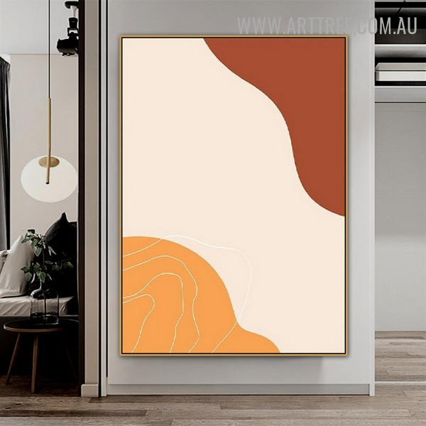 Sinuous Slurs Spots Scandinavian Abstract Geometrical Painting Image Canvas Print for Room Wall Drape