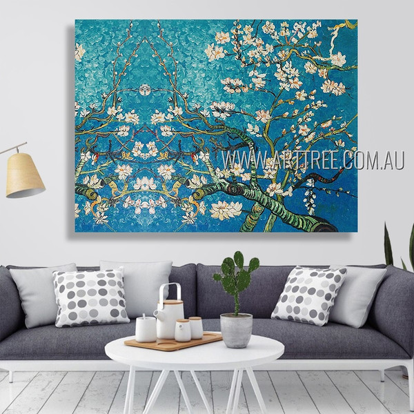 Almond Blossoms Floral Reproduction Heavy Texture Artist Handmade Flower Wall Art For Room Tracery
