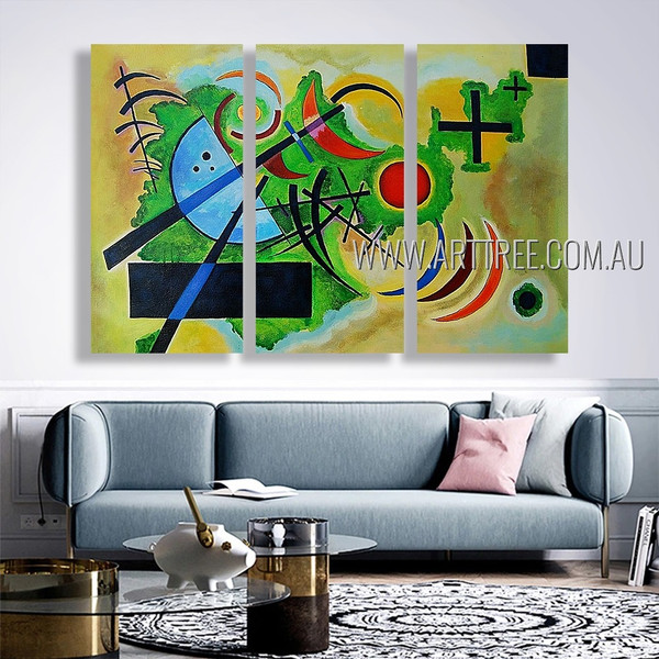 Solid Green Abstract Reproduction Artist Handmade 3 piece Modern Artwork For Room Tracery