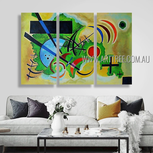 Solid Green III Abstract Reproduction Artist Handmade 3 Piece Contemporary Art Painting For Room Adornment