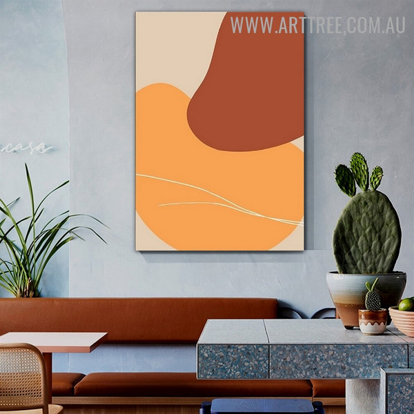Curvy Taints Spots Abstract Geometric Scandinavian Wall Art Pic Canvas Print for Room Assortment