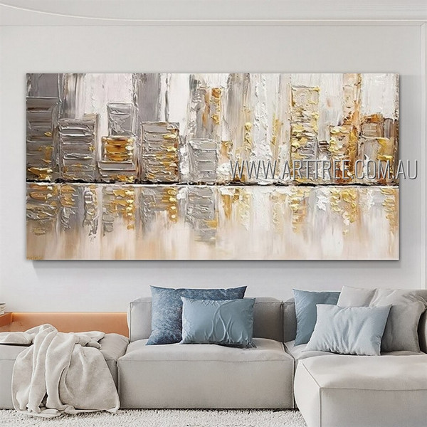 Multicolored Buildings Cityscape Modern Heavy Texture Artist Handmade Framed Abstract Acrylic Painting For Room Wall Ornamentation