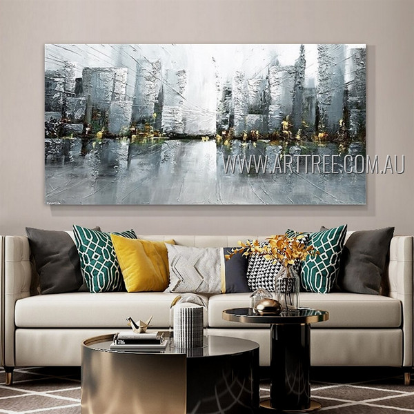 Complex building Cityscape Modern Heavy Texture Artist Handmade Framed Abstract Art Painting For Room Wall Decor