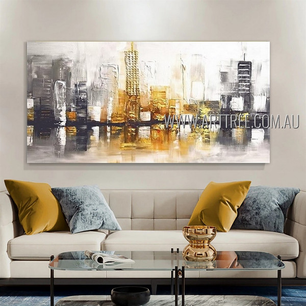 Colorful Erections Cityscape Modern Heavy Texture Artist Handmade Framed Abstract Art For Room Wall Getup