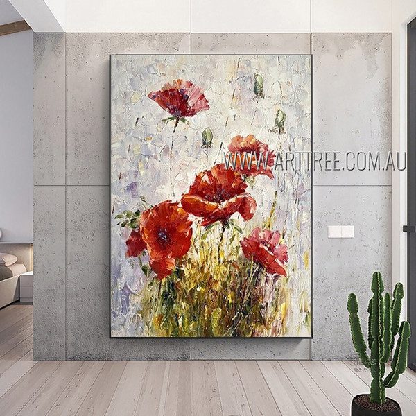 Red Bloom Plant Abstract Heavy Texture Artist Handmade Floral Wall Art For Room Trimming